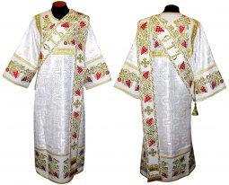 Облачення протодияконське з парчі білого кольору і з вишивкою на щільному  атласі 047d - фото 3a381043a5e5c