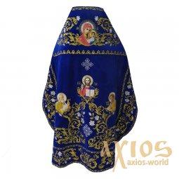 8becf0479e350f Облачення священицьке, вишите на оксамиті синього кольору, вишивка золотом,  вишиті ікони