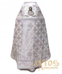 23332f195c8223 Облачення священицьке, комбіноване, основна тканина - біла парча (малюнок -  хрести), плечі вишиті на білому оксамиті